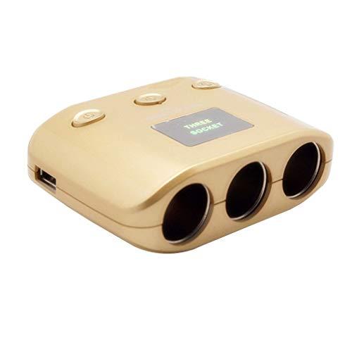 CAOQAO ®Caricatore per Presa accendisigari con 3 Prese accendisigari 2USB / 5V 2.1A Dispositivo di interfaccia USB Universale/Compatibile con Apple Huawei Samsung miglio, ECC/Oro