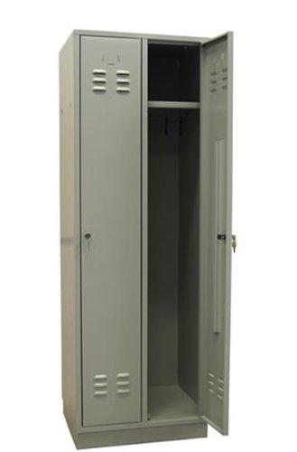 ADB Metall-Spind/Umkleide Garderobenschrank/Kleiderschrank/Stahl Spint/2-türig Lichtgrau (RAL 7035) mit Hutablage, abschließbar, Hergestellt in der EU - Stahl-spind