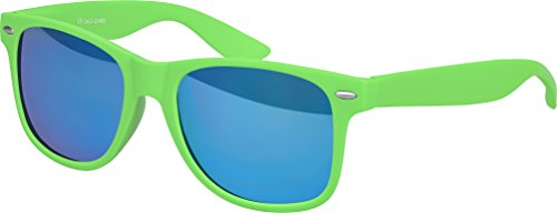 Hochwertige Nerd Sonnenbrille Rubber im Wayfarer Stil Retro Vintage Unisex Brille mit Federscharnier - 96 verschiedene Farben/Modelle wählbar (Grün - Blau verspiegelt) (Grün Herren-blau)