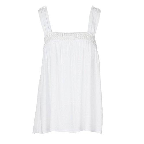 MOIKA Damen Weste, New Frauen Camisole Schräghals Spitze Gedruckt Plus Größe Tops Lose T-Shirt Sommer erfrischende Bluse(L2,Weiß) (Bow Cap Sleeve)