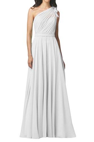 Missdressy Damen Liebling Chiffon Blume Ein-Schulter Falte Lang Abendkleid Partykleid Abschlusskleid Weiß