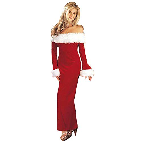 BaZhaHei Robe Noël Femme Off Shoulder, Femmes Noël Vtements Deguisement Chaud Père Noël Épaules Dénudées Manche Longue Santa Robe de Fête(A-Rouge,M)