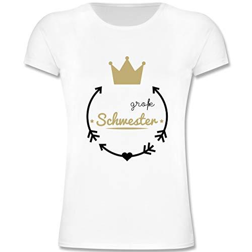 Geschwisterliebe Kind - Große Schwester - Krone - 104 (3-4 Jahre) - Weiß - F131K - Mädchen Kinder T-Shirt (Große-bruder-schwester-shirt)