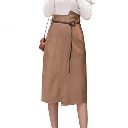 71e386ca91 FSDFASS Faldas Otoño e Invierno 2019 Nuevas Mujeres Falda Color sólido  Casual Cintura Alta Faldas Irregulares