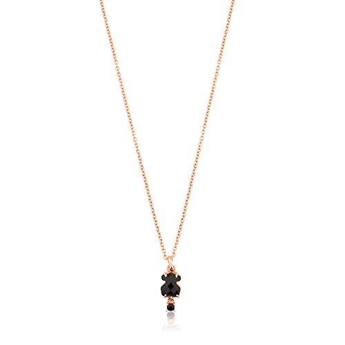 Collar TOUS Erma de plata vermeil rosa con oso de ónix y espinela, Largo: 45 cm, Oso 0,9 cm