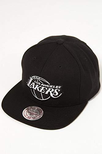 Mitchell & Ness Wool Solid B&W Lakers Cap Basecap Baseballcap NBA Flat Brim Snapback LA Los Angeles (One Size - schwarz-weiß)