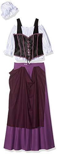 Kostüm Wirtin - Wirtin Schankmaid Mittelalterkleid Kostüm Damen 4-tlg mit Haube XS-XL - XS