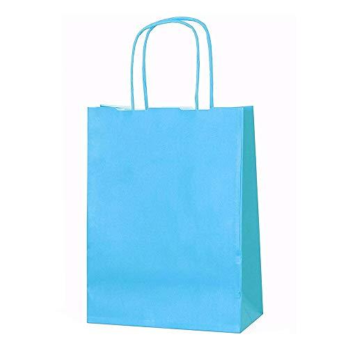 20bolsas de papel kraft con asas trenzadas e ideales para utilizar en fiestas o para hacer regalos, azul, XS