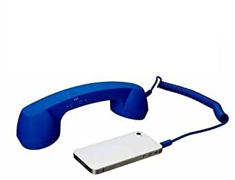 G4Gadget Combiné de téléphone rétro pour téléphones portables/iPhone 5/5S/5C/4/4G/3G/iPad 4/3/2/iPod/tablette PC Bleu foncé