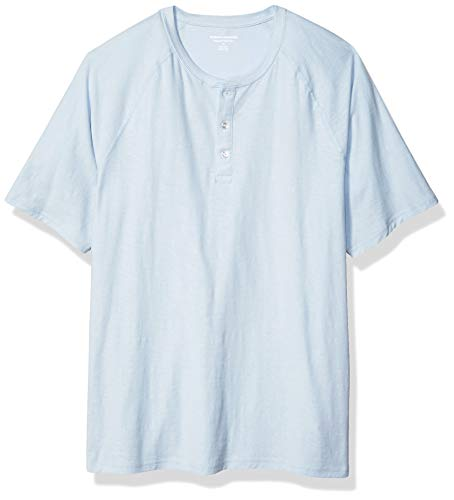 Amazon Essentials Regular-Fit Short-Sleeve Slub Henley fashion-t-shirts, Light Blue, X-Large -
