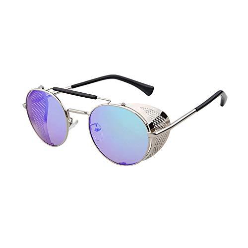 kunfang Steampunk Sonnenbrille für Frauen und Männer Hochklappbare Seitenbarriere Runder Metallrahmen Brille