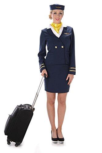 Stewardess Damenkostüm Flugbegleiterin blau weiss gelb XS