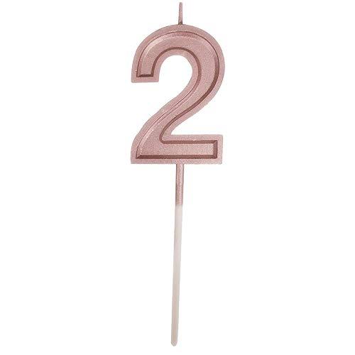 Colorful Deko-Kerze Nummer Kuchenkerze, Roségold Geburtstagskerzen Kerzen Geburtstag Birthday Candles Zahlenkerze Zahl Kuchen Topper Dekoration für Party Kinder Erwachsene (Number 2) (Kuchen Nummer 2 Topper Kerze)