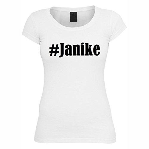T-Shirt #Janike Hashtag Raute für Damen Herren und Kinder ... in den Farben Schwarz und Weiss Weiß
