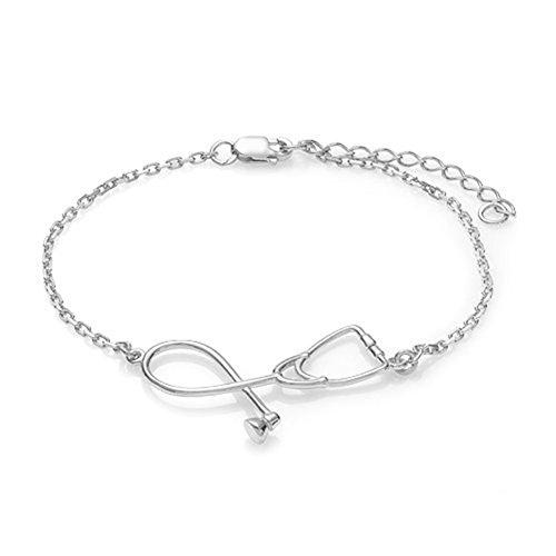 Man9Han1Qxi Mode Stethoskop Armband Krankenschwester Arzt Medizinstudent Armreif Schmuck Geschenk Armband für Männer und Frauen Silver