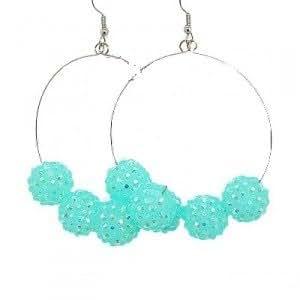 Boucles d'oreilles créole Shamballa Turquoise