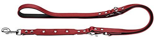 HUNTER Magic Star Verstellbare Hundeführleine, Leder, rot/schwarz, 1,8 x 200 cm