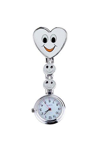TOOGOO Nuove ragazze dolce sorriso orologi infermiera tasca con cuore pendente orologio da tasca buon regalo verde
