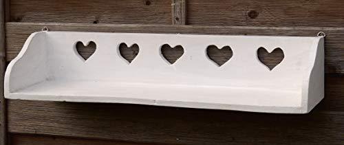 Chic Shabby Stil Weiß Holz (Schönes Wandregal aus Vollholz mit jeder Menge Herz im Shabby Chic Stil - Weiß - auf Alt getrimmt)