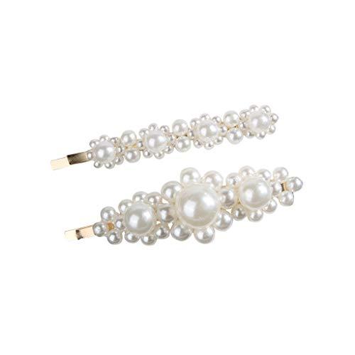 POIUDE 2 stücke Eleganz Weiße Perlen Dekor Haarspangen Kit Braut Haarspangen für Frauen Mädchen(EIN, 8cm)