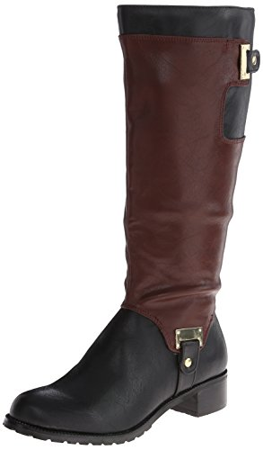 Bella Vita Anya II Plus Wide Calf Synthétique Botte Blk-Mahogany