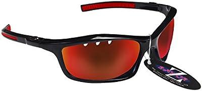 Rayzor profesionales ligeros UV400Negro Deportes Wrap ESQUÍ Gafas de sol, con un con ranuras de ventilación rojo Iridium espejo antideslumbrante lente