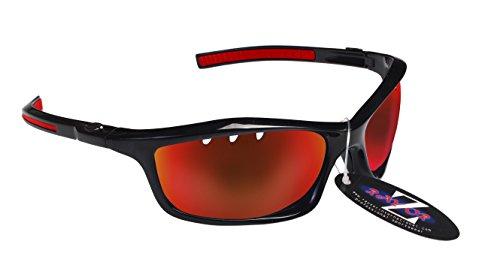 RayZor Professional leichte UV400schwarz Sports Wrap Running Sonnenbrille, mit einem belüfteten rot Iridium verspiegelt Blendfreie Objektiv