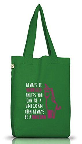 Lustiger Jutebeutel Stoffbeutel Earth Positive von Shirtstreet24 mit Always Be A Unicorn Aufdruck Moss Green