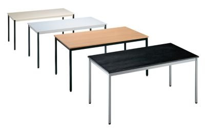 Mehrzwecktisch - rechteckig, Höhe 740 mm - LxB 1200 x 600 mm, Plattenfarbe Buche-Dekor, Gestellfarbe schwarz - Besprechungstisch Besprechungstische...