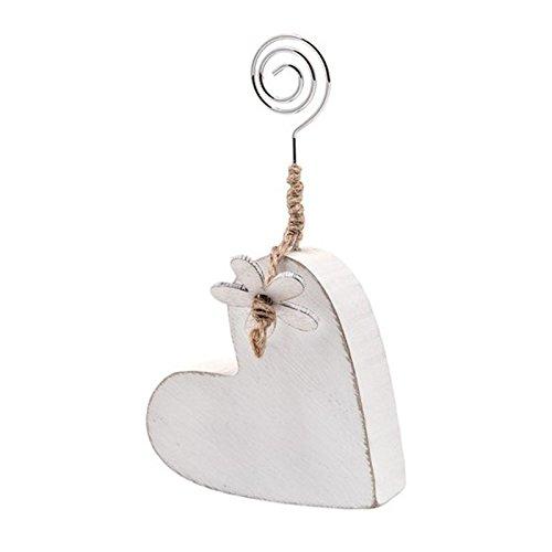 Albalù italia kit 3 pezzi clip portafoto segnaposto segnatavolo cuore in legno