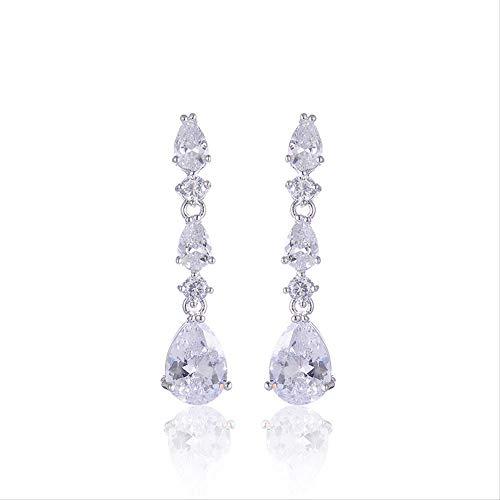 PMFS Fashion Luxury White Crystal Water Drop Long Earrings Jewelry Bride Wedding Earrings Non Pierced Ear Clip Ear Cuff