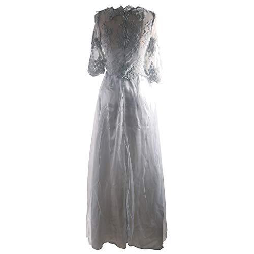 21d35691992f Abito da Sposa Increspato da Donna Vestito da Sera Elegante da Sera Sottile  Vestito da Pizzo