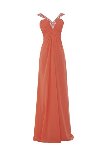 YiYaDawn Rückenfreies Langes Partykleid Abendkleid für Damen Koralle