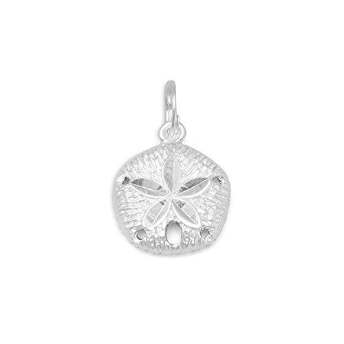Diamant-Diamantschliff Sterlingsilber 19 mm X 13 mm Sand Charm Dollar - JewelryWeb