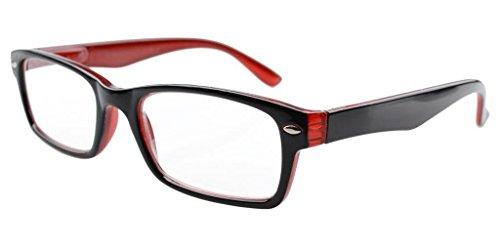 Eyekepper bisagras de muelles de lectura vasos plástico, Negro-Rojo +0.5