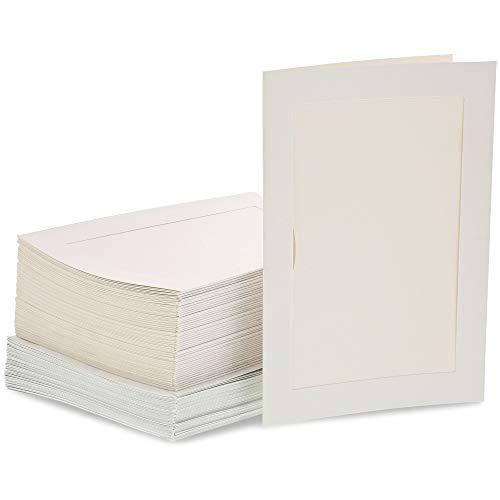 48-pack Papier Bilderrahmen und Umschläge-Geprägtes Papier Foto Mats, perfekt für Einfügen und hält, wenn Sie unvergessliche Dokumente, ivory weiß, 10,2x 15,2cm fügt