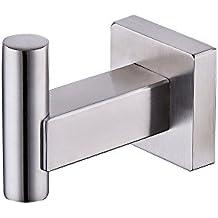Umi. Essentials - Gancio singolo per accappatoio in acciaio inox spazzolato, montaggio a parete, design squadrato contemporaneo