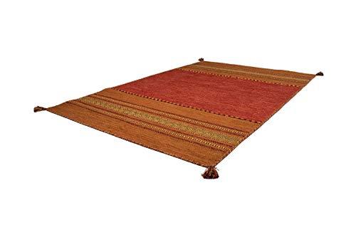 Teppich Handgewebt 100% Baumwolle Teppiche Flachflor Antik-Look Streifen Terra, Größe:120cm x 170cm