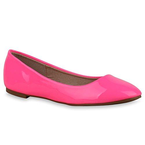 Klassische Damen Ballerinas | Glitzer Ballerina Schuhe Lack | Party Schuhe Zeitschuhe Schleifen | Basic Slipper Flats | Freizeitschuhe Hochzeit Abiball Neonpink Nude