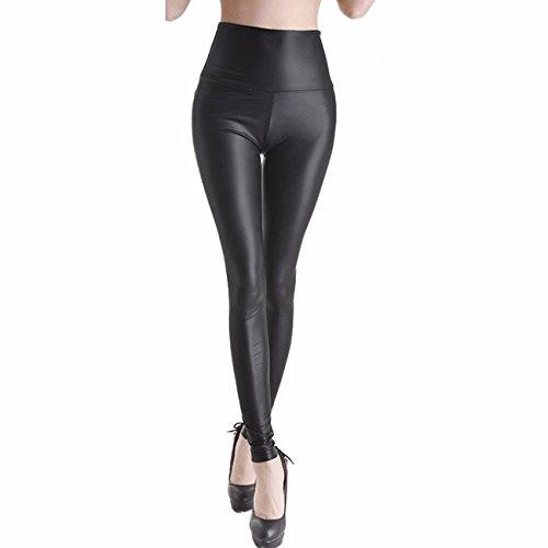 Damen Kunstleder High Waist Leggings Skinny PU Leder Hose Leder-Optik Strumpfhosen Treggings Schwarz Matt XXL (Skinny-leder-pants)
