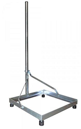PremiumX Balkonständer Flachdachständer Flachdachalterung 50x50cm Mast 1m für Sat Anlagen, DVB-T oder UKW Antennen, Stahl & verzinkt zerlegbar stabil