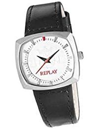 Replay RW5401AH1 - Reloj con correa de cuero para mujer, color blanco / gris