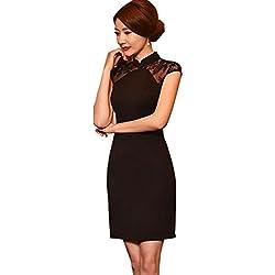 Glield Estilo Oriental Vestido Corto de Manga Corta Falda Retro Qipao Negro QP01 (XL)