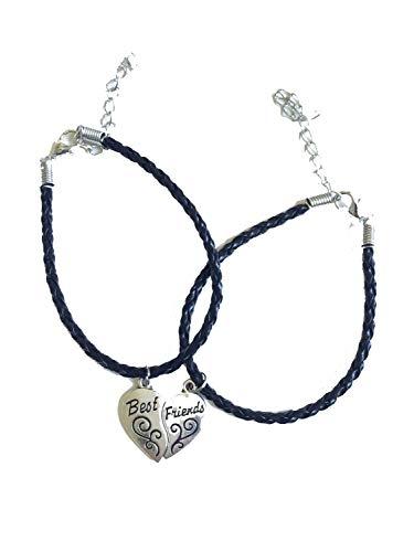 Imagen de strass & paillettes pulsera doble best friend en faux leather negro. corazón apartado en dos. regalo para su mejor amiga