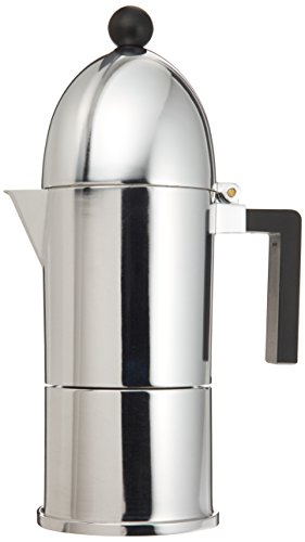 Alessi A9095/6 B La Cupola - Cafetera italiana (6 tazas, con mango negro)
