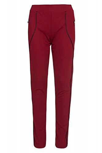 melrose Hose Damen Leggings Freizeit-Hose Bordeaux Stretch-Leggings Tights, Größenauswahl:32