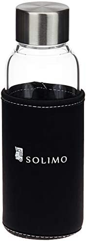 Amazon Brand - Solimo Borosilicate Glass Sports Bottle, 450 ml, Black