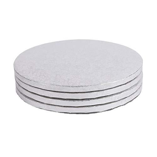 Miss Bakery's House® Cake Drum - 12 mm - Ø 34 cm - Silber - 4 Stück Cake Board