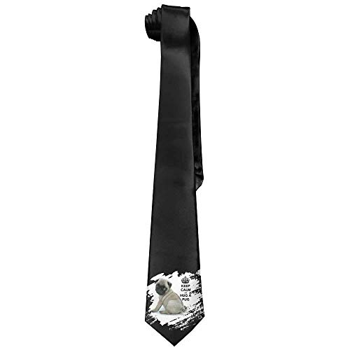 Keep Calm And Hug A Pug Men's Tie Long Necktie Skinny Neckwear Silk