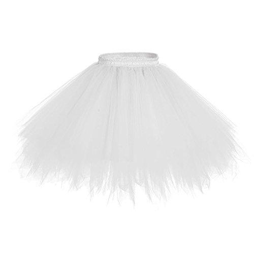 Bridesmay Tutu Damenrock Tüllrock 50er Kurz Ballet Tanzkleid Unterkleid Cosplay Crinoline Petticoat für Rockabilly Kleid White S (Für Frauen Halloween-kostüme Billige)
